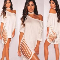 Womens Ladies Brief Dresses Clothing  Fashion Women Bandage Loose Hollow shirt Evening Sexy Party Mini Dress Sexy