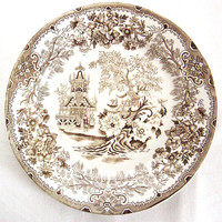 1930s ceramic decorative plate with sepia brown Willow pattern - Made in Italy - Oriental landscape with pagodas