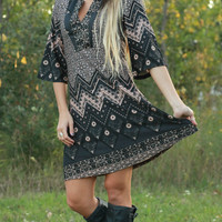 Black, Gray & Peach 3/4 Sleeve Dress