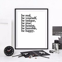 be yourself Canvas Quote wall Art ,Inspirational Quotes Painting Wall Hanging Home and office Decor Graduation Gift