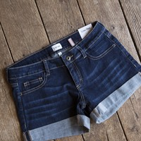 Low Rise Cuffed Shorts, Dark Denim