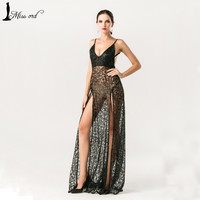 Free Shipping  Missord 2016 Sexy halter  V-neck split party dress sequin maxi dress FT5131