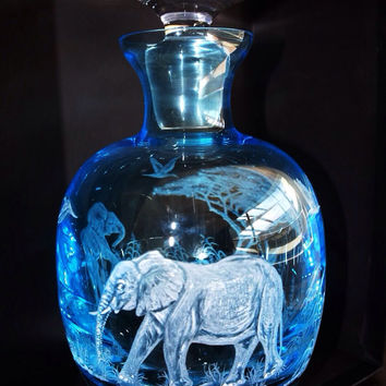 Elephant Mother And Baby lazy day, Hand Engraved Decanter