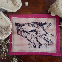 screen printed wolf patch