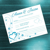 DIY Printable Wedding RSVP Card Template | Editable MS Word file | 5.5 x 4.25 | Instant Download | Turquoise Blue Heart Romance