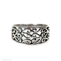 Oxidized Sterling Silver Filigree Heart Design Ring