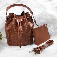 Fendi New fashion more letter leather two piece suit bucket bag shoulder bag Brown