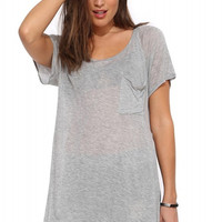 Grey Chiffon Short Sleeve Front Pocket T-shirt with Slits
