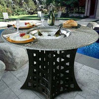 California Outdoor Concepts La Costa Fire Pit Table with Cooler Insert - 401A-X-CLR-X / 1025-BK - Fireplaces & Accessories - Decor