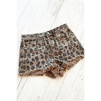 Blank NYC Cheetah Denim Shorts