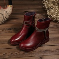 Dwarves Women's Handmade Leather Ankle Boot With Rope Decorated Coffee/Wine Red