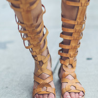 Faux Leather Gladiator Sandals in Camel
