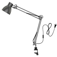 ToJane Swing Arm Desk Lamp,Architect Table Clamp Mounted Light, Flexible Arm Drawing/Office/Studio Table Lamp,Grey Metal Finish Grey