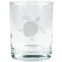 Summer Sun Sea Turtle Etched Glass Tumbler