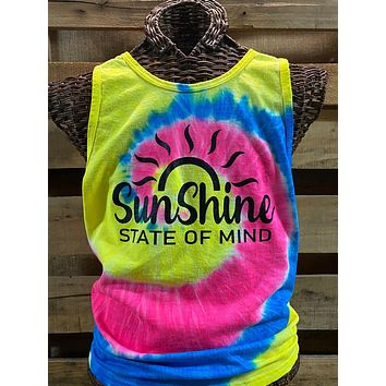 Southern Chics Sunshine State of Mind Tie Dye Girlie Bright T Shirt Tank Top