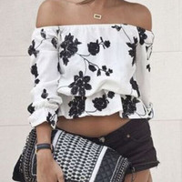 White Floral Print Off-Shoulder Cropped Top