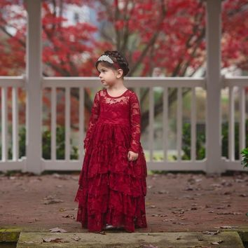 Coralee Wine Long Sleeve Lace Layers Ruffle Skirt Lace Gown Dress
