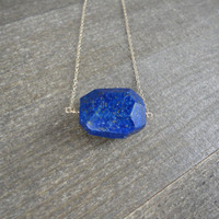 14k gold filled lapis lazuli faceted bead necklace / bridesmaid necklace / dainty necklace / minimalist necklace / September birthstone