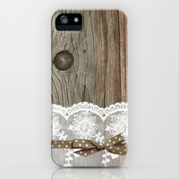 Brandnew  *** CUTE FRENCH LACE on Wood ***  iPhone & iPod Case by Monika Strigel for 5c + 5s + 5 + 4s + 4 + 3gs + 3g + ipodtouch + samsung