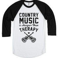 Country Music Therapy-Unisex White/Black T-Shirt