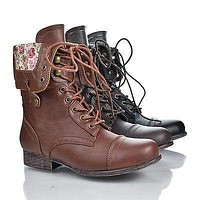 Surprise01 Leopard by Bamboo, Foldable Convertible Military Combat Boots Women Shoe