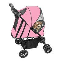 Pet Gear Happy Trails Stroller with Cover (Pink)