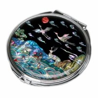 Mother of Pearl Longevity Animal Design Double Compact Cosmetic Makeup Metal Round Mirror, 3.2 Ounce