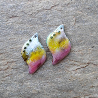 Enamel Beads, One Hole Enameled Brass Pendant, Enamel Jewelry Components, Handmade Jewelry Supplies for Unique Handmade Jewelry