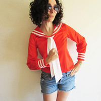 Vintage 70s Polyester Red Sailor Novelty Blouse with Neck Tie