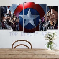 5 Panel Large Size Wall Painting Captain America Modern Home Decor Modular Canvas Art Picture Poster For Living Room Unframed