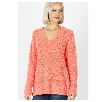 Casual to Classy Coral V Neck Popcorn Sweater