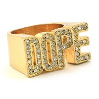 """HIP HOP FASHION """"DOPE ENTERTAINMENT"""" GOLD PLATED RING BK009G"""