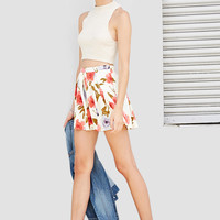 Floral Box-Pleated Skirt