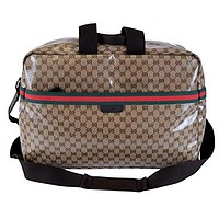 Gucci XL Crystal Line GG Guccissima Red Green Web Travel Luggage Duffle