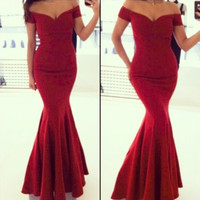 Sexy Off Shoulder Red Mermaid Long Party Floor Length Dress