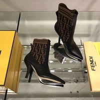 FENDI F logo print Women Leather Black Zipper heels Boots Fashion Casual Shoes Best Quality