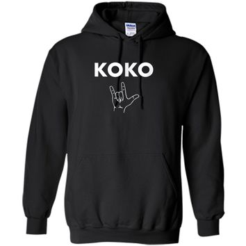Koko I Love You- Gorilla Sign Language Tribute T-Shirt Pullover Hoodie 8 oz