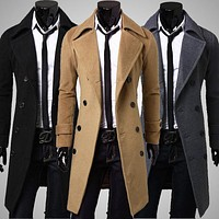 Fashion Men's Full Sleeve Smart Casual Workwear Windbreaker Coat Warm Thick Woolen Peacoat Long Overcoat Clothes