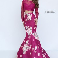 Sherri Hill 50488 Plum Lace Long Sleeve Floral Print Gown
