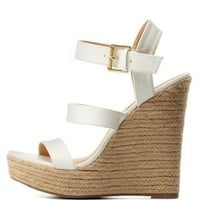 White Three Band Espadrille Wedge Sandals by Charlotte Russe