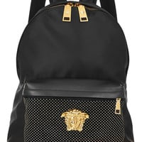 Versace - Studded leather-trimmed satin-shell backpack