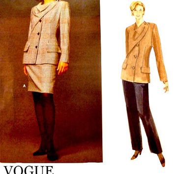 Vintage 90s Womens Patterns Bill Blass Jacket Button Overlay Straight Skirt Vogue Sewing Pattern 1458 Straight Pants Uncut Size 12 14 16