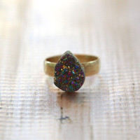 Chunky Druzy Teardrop Ring - Gold/Purple Metallic