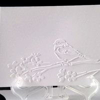 White Embossed Bird on Branch Note Cards - Set of 6 Embossed Note Cards - Embossed Cards - Embossed Bird