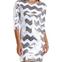 Chevron Sequin Bodycon Dress by Charlotte Russe - White Combo