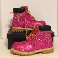 Baby Phat Scout Boots Custom Glitter Pink size 8.5