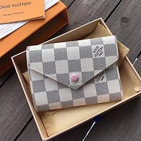 LV Louis Vuitton Stylish Monogram Pink Buckle Canvas Key Packet PU Small Coin Purse Wallet Key Pouch