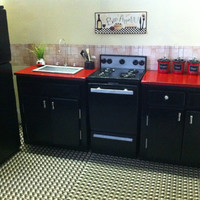 Playscale Kitchen for Fashion Dolls like Barbie / Fashion Royalty / Monster High - Fully Loaded Black & Red- Get 20% Off