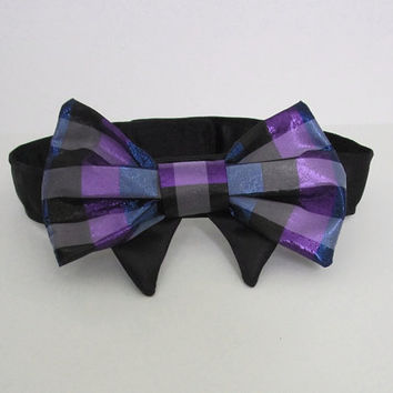Dog clothes Dog bow Tie in Jewel tone plaid by miascloset on Etsy