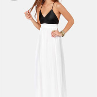 LULUS Exclusive Midnight Rider Black and White Maxi Dress